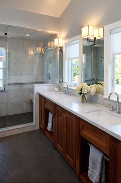 : Unique Walnut Mill Valley Traditional Bathroom Design Interior With Small Bathroom Vanities And White Granite Countertop