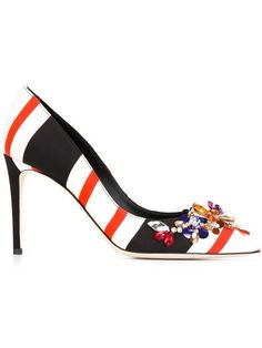 Dolce & Gabbana embellished striped pumps