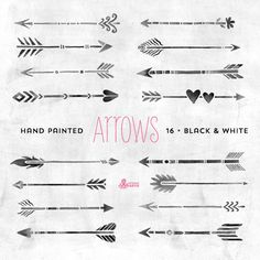 White & Black Arrows Clipart. Tribal native diy by OctopusArtis