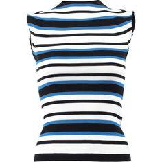 Dolce & Gabbana  Stripe Mockneck Knit Tank ($895) ❤ liked on Polyvore featuring tops, blue tank, stripe tank, striped tank, blue turtleneck and knit turtleneck