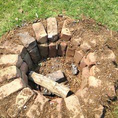 Repurposed bricks into a fire pit.
