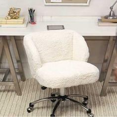 Ivory Sherpa Faux Fur Wingback Desk Chair | PBteen