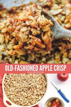 This old-fashioned apple crisp recipe tastes just like you remember grandma making it! This is the perfect dessert recipe to make in the fall! Simply the best fall recipe and dessert! OHMY-CREATIVE.COM #falldessert #fallapplerecipe #applerecipe #oatmealrecipe #applecrisprecipe