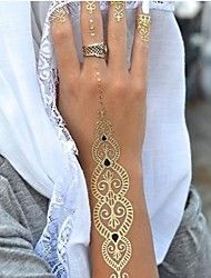 1PC Long Necklace Bracelet Gold Tattoos Temporary... – USD $ 2.99