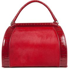 Donna Karan Calf Hair And Leather Tote - Red