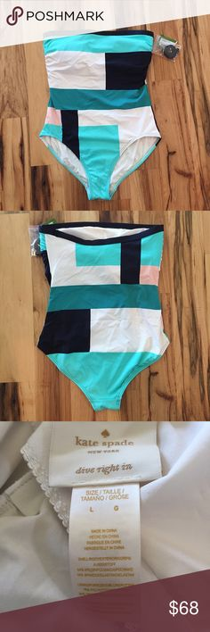 Kate Spade Swimsuit NWT Kate Spade color block 1-piece swimsuit, size large. Full coverage bottom. 84% nylon/16% spandex. Comes with removable straps.No trades or off Poshmark transactions. Thanks and happy Poshing!! kate spade Swim One Pieces