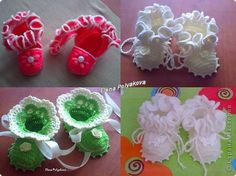 Crochet: booties, shoes with closed toes.