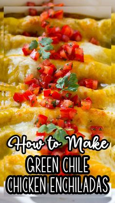 These green chile chicken enchiladas are made with shredded chicken and plenty of cheese, all rolled up in corn tortillas and smothered with green chile sauce. Green Chili Sauce, Green Chili Chicken, Chicken Chile, Corn Chicken, Enchilada Ingredients, Enchilada Recipes, Mexican Food Recipes, Beef Recipes, Chicken Recipes