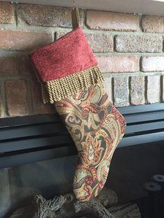 Woven Jacquard Christmas Stocking by Thepepperedneedle on Etsy