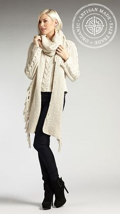 Women's chunky cable knit sweater and organic cotton scarf. INDIGENOUS winter & fall 2013 line preview.
