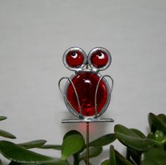 Stained Glass Red Frog Plant Stake, Garden Art