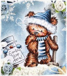 Copic Marker Europe: Santa, Stop Here! Fur - E000, E00, E13, E15, E18 Hat/Scarf - B0000, B91, B93, B95, B97, B99 C0, C1, C3 Wood Hammer - E70, E71, E74, E77 Snowman: Hat - C1, C3, C5, C7, C9 Nose - YR02, YR09, E08