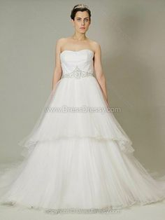 A-line Strapless Tulle Sweep Train Beading Wedding Dresses -$265.09