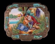 A Bright Cut Sterling Enameled Compact, c. Late 19th Century
