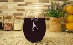This listing is for 1 wine glass engraved for those who are a Winosaur! Engraved with a high-grade commercial laser. Makes for a great