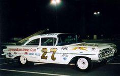 Saturday night under the lights. Junior Johnson's 1959 Chevy.