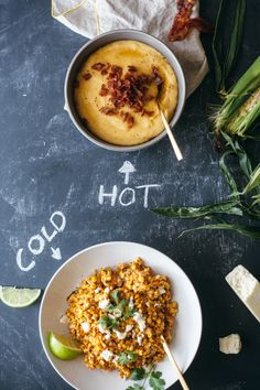 Corn, two ways: Maple Bacon Polenta/ Mexican Corn Salad