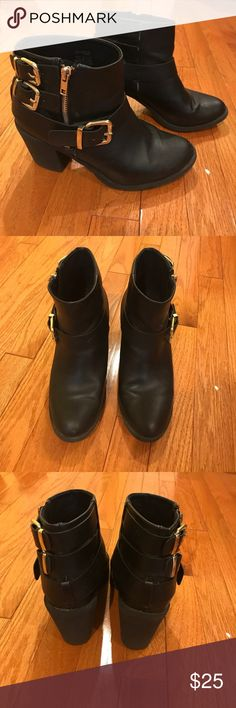 HM Divided black ankle boots w/ gold buckles (8) HM Divided black ankle boots with small heel and gold zipper and buckle detailing. Very comfortable and can be dressed up or down. Divided Shoes Ankle Boots & Booties