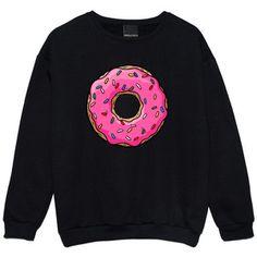 Donuts Sweater Jumper Womens Ladies Fun Tumblr Hipster Swag Fashion Grunge Kale Punk Retro Vtg Top B