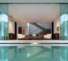 Architecture, Cozy Decorating Ideas For Living Rooms With Scandinavian Design Sofas Side Small Inground Pool Designs: Astonishing Modern Sta. Indoor Swimming Pools, Swimming Pool Designs, Home Interior, Interior Architecture, Interior Design, Design Art, Design Ideas, Moderne Pools, Living Room Modern