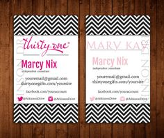Bright and fun Thirty One or Mary Kay business card design.  Single-Sided Mary Kay Card.  Double-Sided Thirty One Card.    {HOW TO ORDER}  Add the