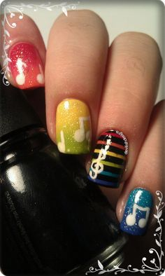 I am unfolding amazing music nail art designs, ideas & trends of I hope you would love the collection. Music Note Nails, Music Nail Art, Music Nails, Gradient Nails, Rainbow Nails, Acrylic Nails, Glitter Nails, Hot Nails, Hair And Nails