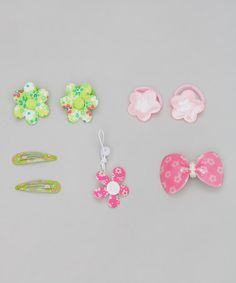 Take a look at this Pink & Green Five-Piece Floral Set by Inca Hair on #zulily today!
