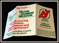 1982-83 NEW JERSEY DEVILS HILTON AT HARMON HOCKEY POCKET SCHEDULE FREE SHIPPING…