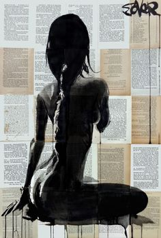 ink on vintage book pages adhered together to create one sheet ready for framing as desired, part of an ongoing series of nudes and subtle nudes created over the past six years featuring women and ...