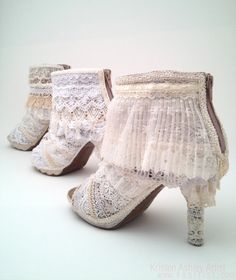 The Lacy Lift for Women's Booties  lace covering for by kaartist, $150.00