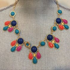 Summer Multicolor Statement Necklace Multicolor Statement Necklace. Perfect summer colors across a beautiful and sparkly gold chain. Complements any outfit! Jewelry Necklaces