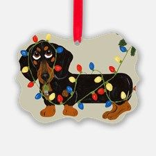 Dachshund (Blk/Tan) Tangled In Christmas Lights Pi for