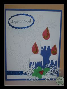 carte de noel chandelles bleu