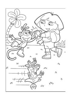 Tegninger Til Farvelaegning Dora Explorer 31 And Boots Doing A High Five Desenhos Para Pintar Exploradora