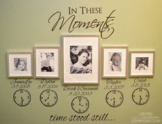 In These Moments Time Stood Still. Names, Dates, Clocks. Wall Decal Sticker Art…