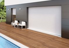Ideas For House Facade Design Patio House Windows, Blinds For Windows, Facade House, Windows And Doors, Cafe Shutters, Diy Shutters, Roller Shutters, Facade Design, House Design