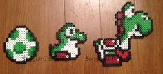 Yoshi Perler Beads Nintendo video games geekery by SongbirdBeauty, $4.00  Check out the latest items in my Etsy store at: www.etsy.com/shop/songbirdbeauty