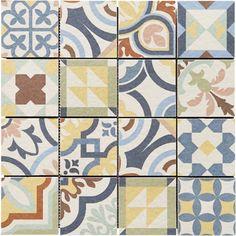Un carrelage mosaïque qui reprend l'aspect carreau de ciment en motifs patchwork pour réaliser de nombreux dessins personnalisés sur tout support de cuisine ou salle de bains, ou sol de pièce à vivre.