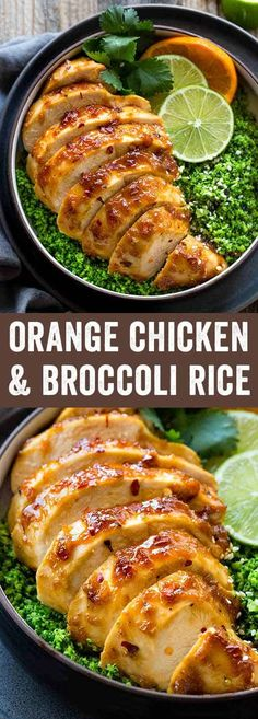 Orange chicken and broccoli rice bowls are a gluten-free meal loaded with sweet and savory spicy flavors. This popular dish is made with paleo-friendly ingredients.The chicken is baked instead of fried for a healthier version of this Chinese inspired dish. #chickenbowl #healthyrecipe via @foodiegavin