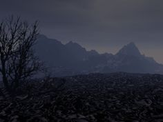 A dead landscape seen in a nightmare I had years ago.  Rendered in Bryce.