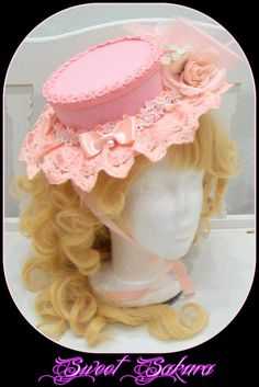 Beautiful Sweet / Classic Lolita hat, decorated with pink tulle, satin ribbons, beads and roses.