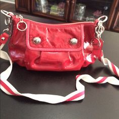 Authentic Coach Patent Leather Red Cross Body Bag Red coach cross body bag Coach Bags Crossbody Bags