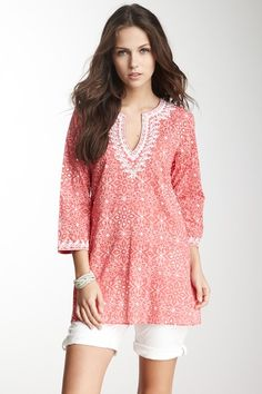 Sofia Print Sequin Tunic... i would rather wear white capris or skinny pants with it, but super cute top!