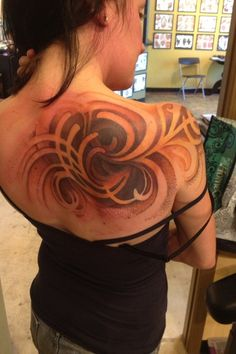 kurtfagerland:  Freehand cover up of a tribal dragon in...