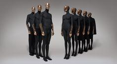 Mannequins female and male of Paris Black Copper