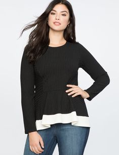 7c36a9992d8bf9 Ribbed Long Sleeve Top with Contrast Trim from eloquii.com Long Sleeve Tops