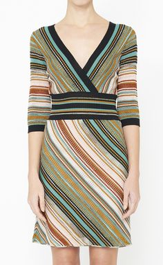M Missoni Turquoise, Brown And Multicolor Dress