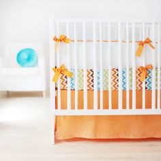 Designer crib bedding Sweet & Simple Seperates - Orange Baby Bedding Set custom made in the USA. Ships free in weeks. Choose matching window drapes to complete your nursery decor Baby Crib Bedding Sets, Crib Sheets, Nursery Bedding, Baby Cribs, Baby Bedroom, Chevron Baby Bedding, Orange Bedding, Simple, Sweet