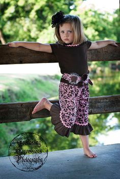 Chocolate brown and Pink ruffle pants