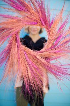 Try a super-vibrant wheat wreath. #DIY